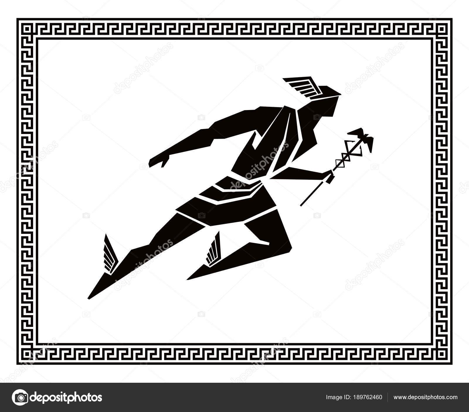 Vuelo Hermes Marco Griego Dibujo Vectorial — Archivo Imágenes ...