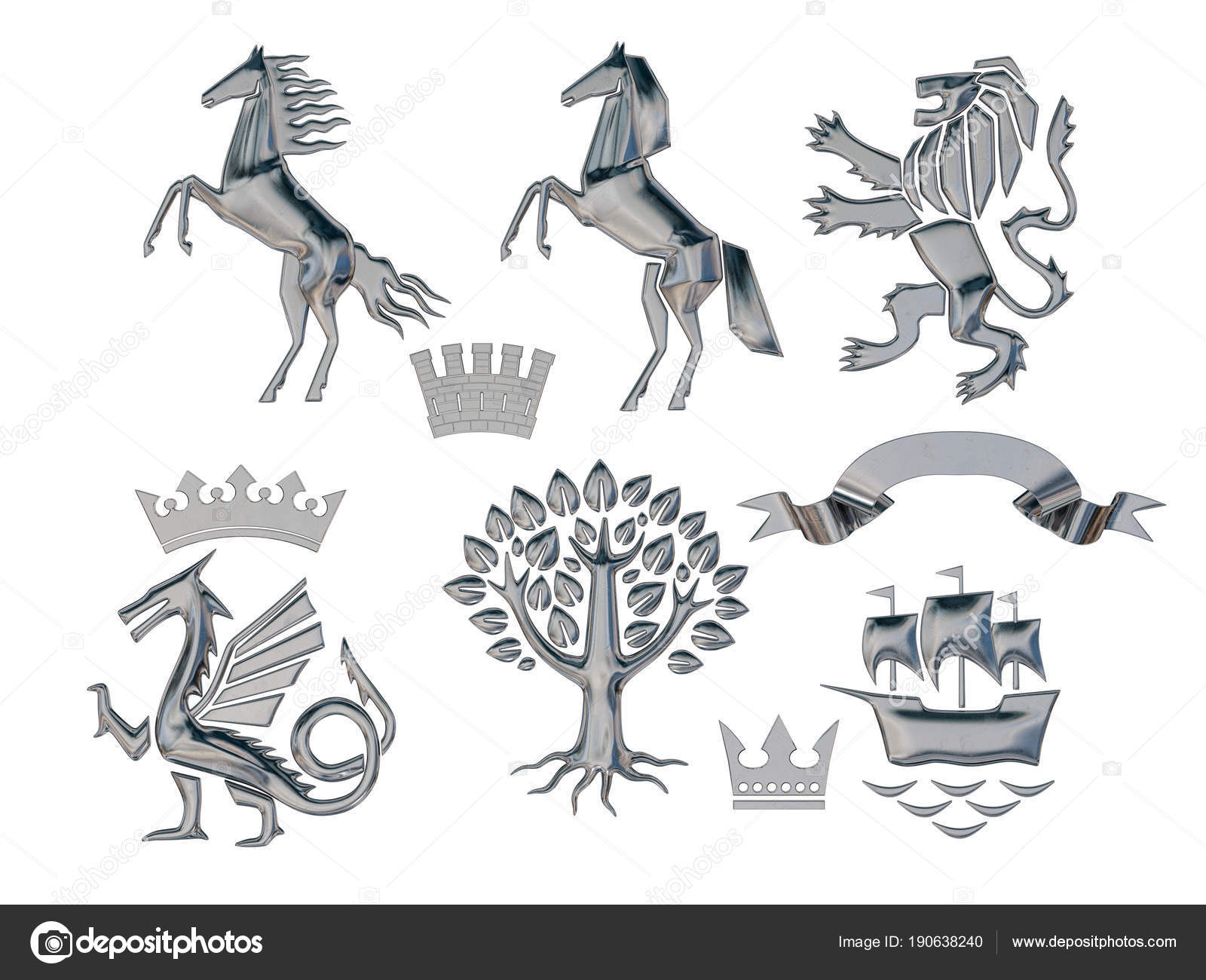 Illustration Rendering Set Silver Heraldic Symbols Lion