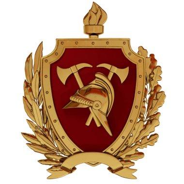 3d illustration. Emblem of firefighters. Gold vintage helmet, axes, red shield, torch, olive branches. 3D modeling