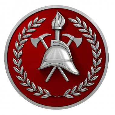 3d illustration. Fireman badge. Silver vintage helmet, axes, torch, olive branches on a red medal. Isolated. 3D modeling