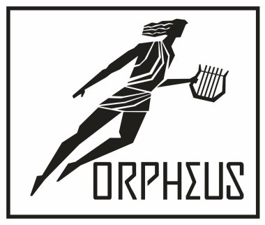 Singer and musician Orpheus. Stylized silhouette and inscription. Vector hand drawing