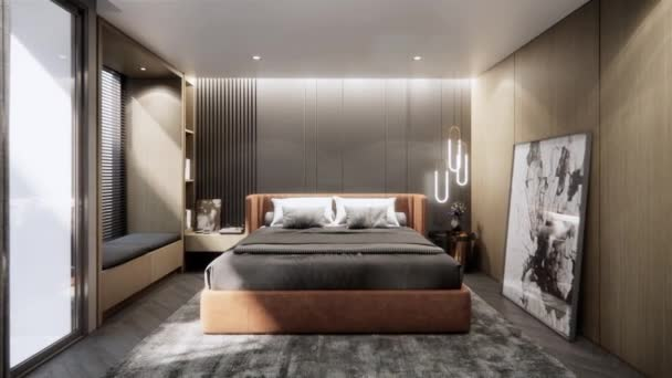 moderní luxusní ložnice interiér, zoom v záběru, video ultra Hd 4k 3840x2160, 3D animace