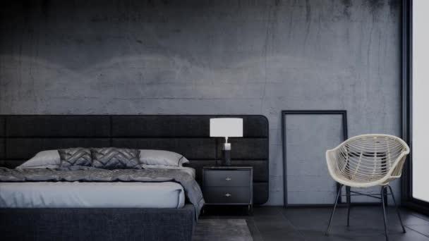 interiérový design moderní podkrovní ložnice s nábytkem, panelový levý záběr, video ultra HD 4K 3840x2160, 3D animace