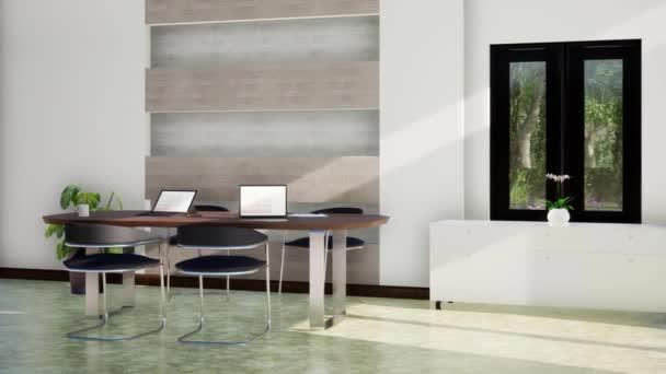 modern belső tér fehér dolgozó, forgó lövés lassított felvétel, videó ultra HD 4K, 3D animáció