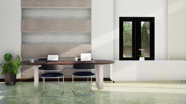 moderní interiér pracovního pokoje se stolem a židlemi, otáčení zpomaleného záběru, video ultra HD 4K, 3D animace