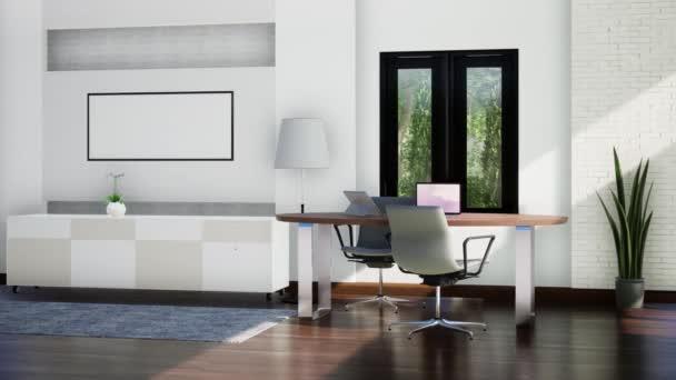 moderní interiér pracovny s nábytkem, otáčení zpomaleného záběru, video ultra HD 4K, 3D animace
