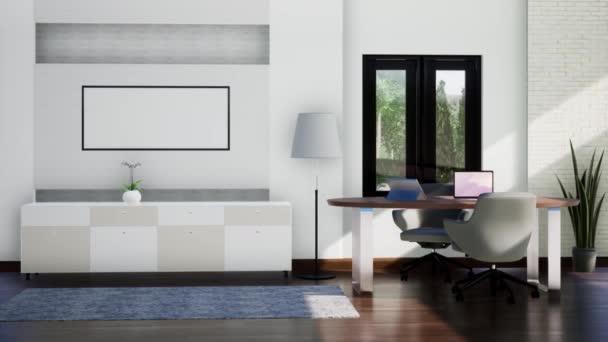 modern munkaterem belsőépítészet bútorokkal, forgatás lassított felvételekkel, videó ultra HD 4K, 3D animáció