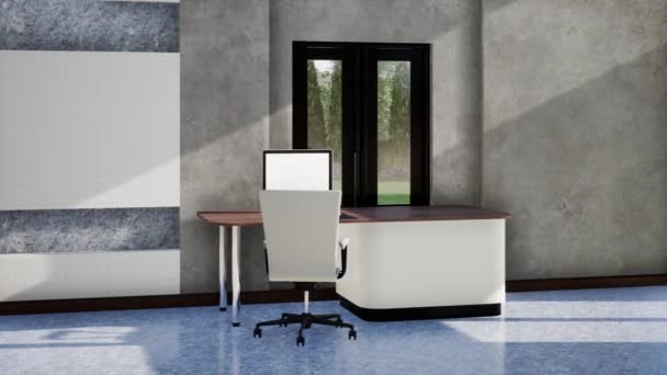 moderní podkrovní design interiéru s nábytkem, zpomalení otáčení záběru, video ultra HD 4K, 3D animace