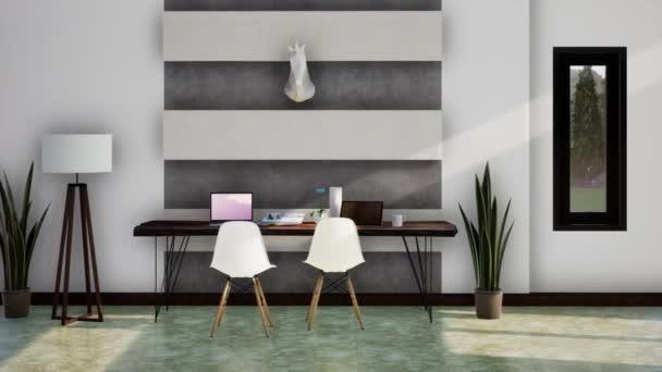 moderní interiér pracovní místnosti, otáčení zpomaleného záběru, video ultra HD 4K, 3D animace