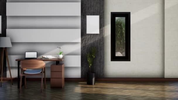 interiér moderního pracovního prostoru, pan shot slow motion, video ultra HD 4K, 3D animace