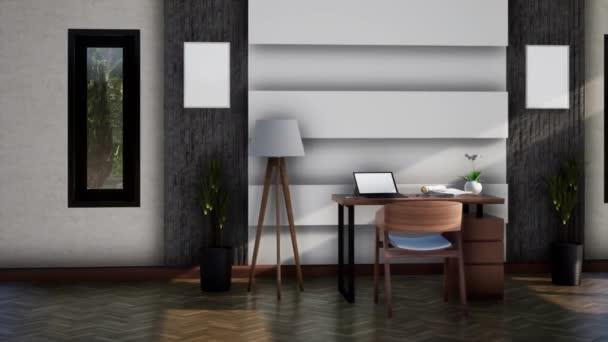 belső tér modern munkaterület bútorok, forgó lövés lassított felvétel, videó ultra HD 4K, 3D animáció