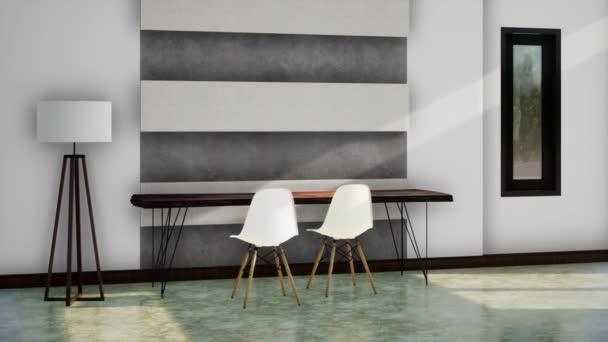 pokoj moderní design interiéru, zpomalení otáčení záběru, video ultra HD 4K, 3D animace