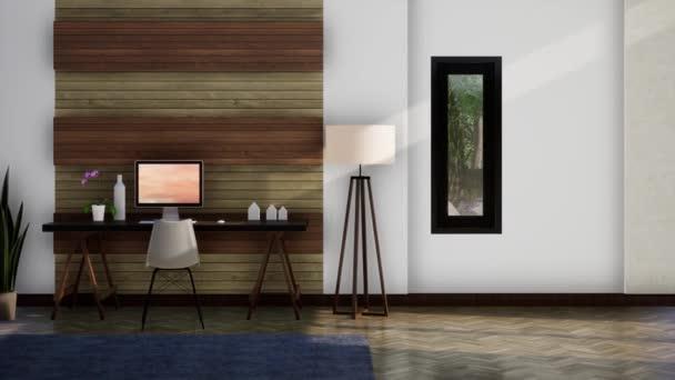 munkaterület modern belsőépítészet, pan shot lassított felvétel, videó ultra HD 4K, 3D animáció