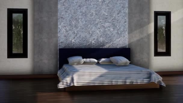 design interiéru moderní podkrovní ložnice, zpomalení otáčení záběru, video ultra HD 4K 3840x2160, 3D animace