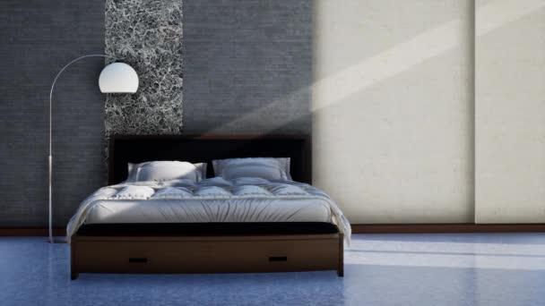 design interiéru moderní ložnice s nábytkem, otáčení zpomaleného záběru, video ultra HD 4K 3840x2160, 3D animace
