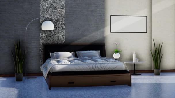 moderní ložnice interiér s nábytkem, otáčení záběru zpomalení, video ultra HD 4K 3840x2160, 3D animace