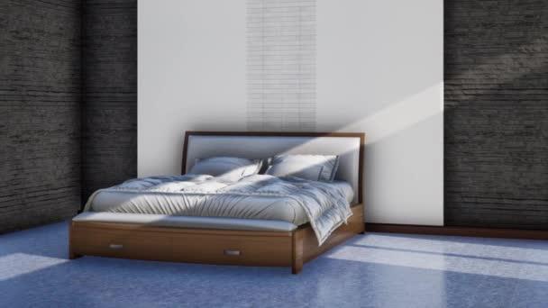 interiér moderní ložnice s manželskou postelí, otáčení záběru zpomalení, video ultra HD 4K 3840x2160, 3D animace