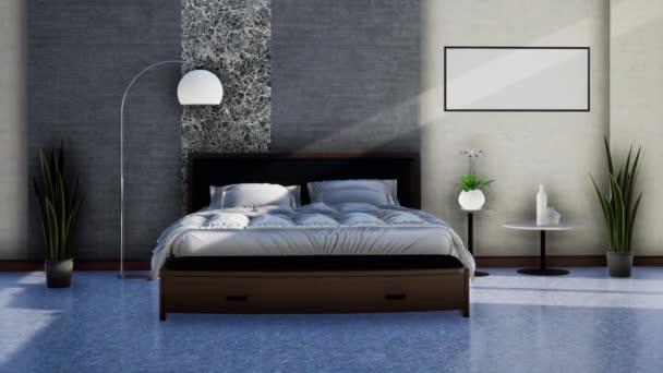 moderní design interiéru ložnice s nábytkem, zpomalení otáčení záběru, video ultra HD 4K 3840x2160, 3D animace