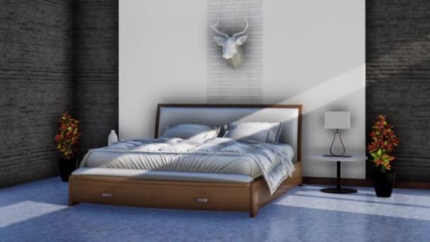 moderní ložnice interiér s manželskou postelí, otáčení záběru zpomalení, video ultra HD 4K 3840x2160, 3D animace