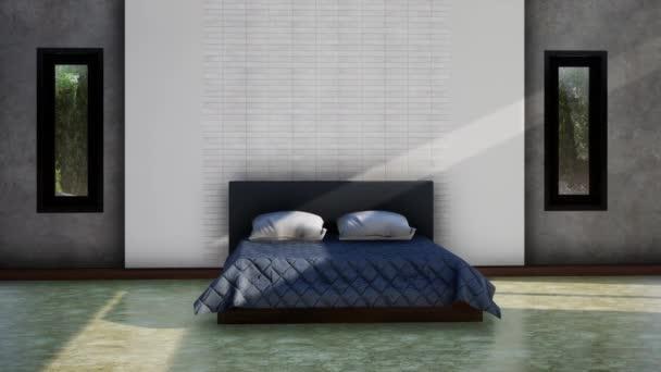 moderní design interiéru ložnice, zpomalení otáčení záběru, video ultra HD 4K 3840x2160, 3D animace