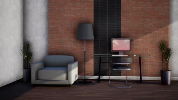 interiér místnosti s nábytkem, rotující zpomalený záběr, video 4K 3D animace