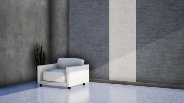 modern loft szoba belsőépítészet, forgó forgatás lassított felvétel, 4K videó 3D animáció