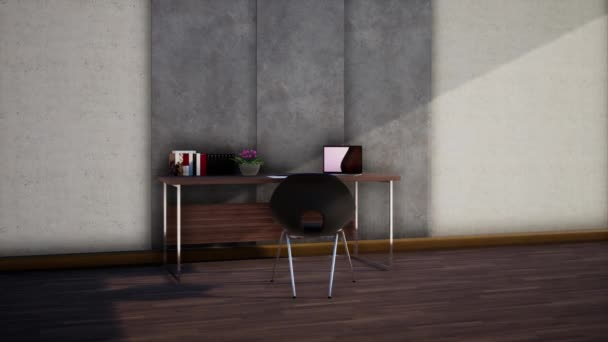 design interiéru moderní klasické místnosti s nábytkem, otáčení zpomaleného záběru, video ultra HD 4K, 3D animace