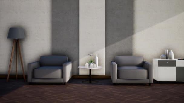 interiérový design bílého obývacího pokoje s nábytkem, zpomalení otáčení záběru, video ultra HD 4K 3840x2160, 3D animace
