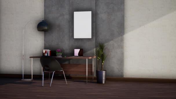 interiér moderní klasické místnosti, otáčení zpomaleného záběru, video ultra HD 4K, 3D animace