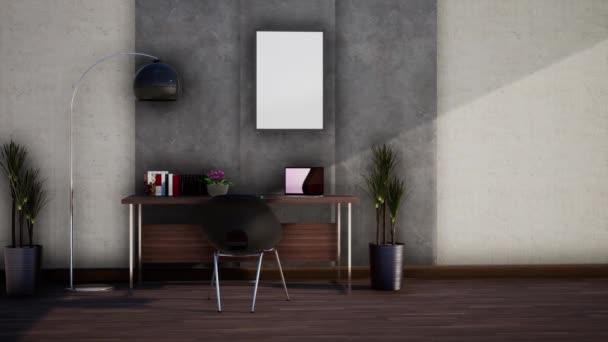 interiér moderní pracovní místnosti s nábytkem, otáčení zpomaleného záběru, video ultra HD 4K, 3D animace