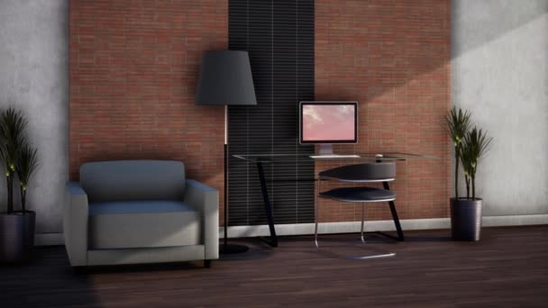 návrh interiéru s nábytkem, otáčení zpomaleného záběru, video 4K 3D animace