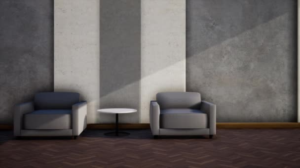 design interiéru moderního loft stylu obývacího pokoje, video 3d vykreslování, pan levý záběr