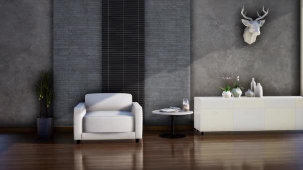 moderne Loft-Stil Wohnzimmer Innenarchitektur, Video-3D-Rendering