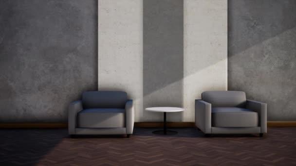 belső tér modern loft stílusú nappali, videó 3d renderelés, serpenyő jobb lövés