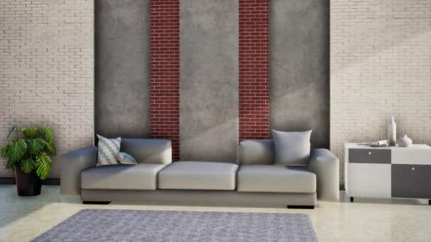 modern nappali belsőépítészet bőr kanapéval, 3D-s renderelés videó 4k