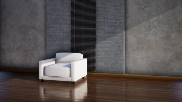modern loft stílusú belső tér székkel, videó 3d renderelés