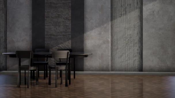 belső tér modern loft szoba fekete asztal és szék, videó 3d renderelés