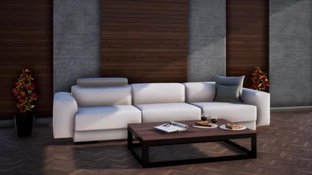 moderní design interiéru obývacího pokoje s pohovkou, 3D vykreslování videa 4k