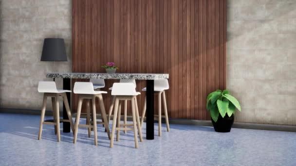 modern szoba belsőépítészete, 3D animációs renderelés