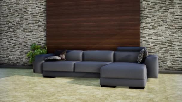 belső tér modern nappali, 3D animációs renderelés
