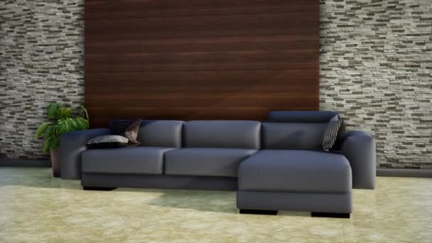 interior of modern living room, video 3d animation rendering