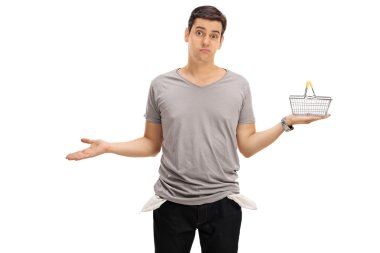 Man showing empty pockets and holding empty basket