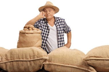 Disappointed elderly farmer posing with burlap sacks