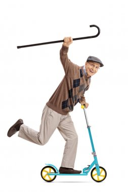Cheerful senior riding a scooter with walking cane