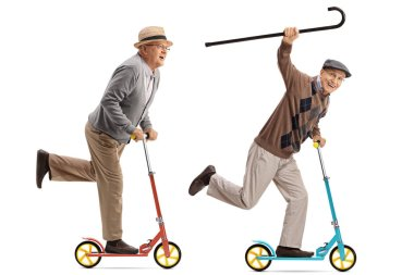 Two overjoyed seniors riding scooters