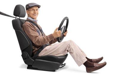 elderly man sitting on a car seat