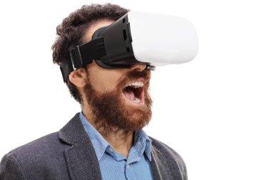 Bearded man wearing virtual reality goggles