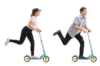 Girl and a guy riding scooters