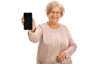 Joyful mature lady showing a phone