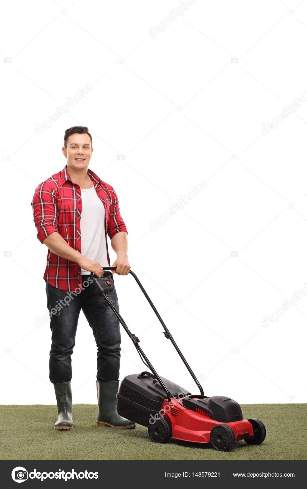 jeune jardinier avec une tondeuse gazon photographie ljsphotography 148579221. Black Bedroom Furniture Sets. Home Design Ideas